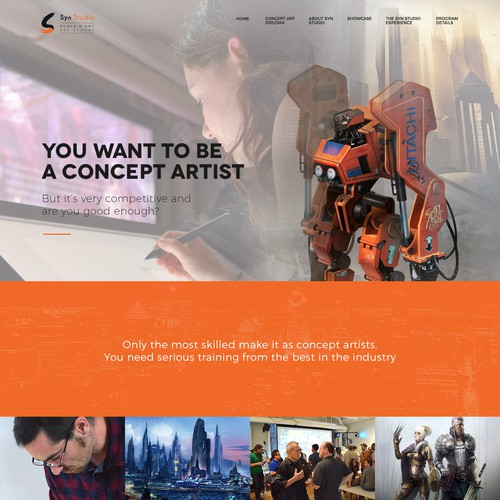 Website design for concept art school