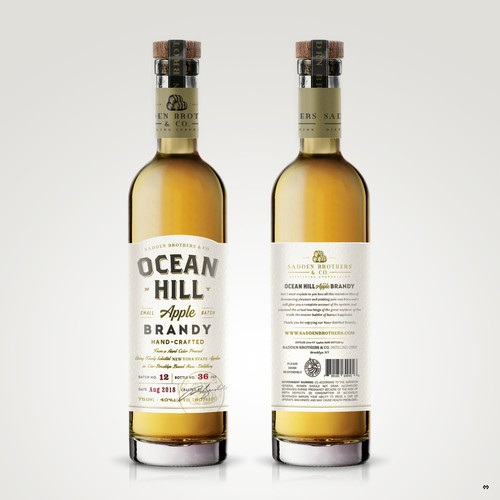 Label design for Ocean Hill Apple Brandy.