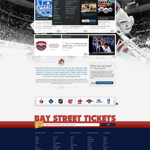 Sleek & Stylish (2pg) website mockups for HOT Tickets to TOP Events