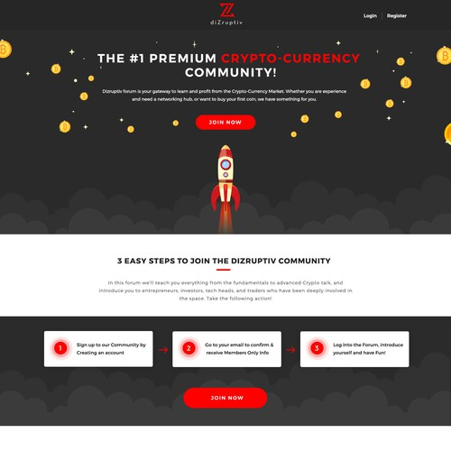 Designing Landing page about bitcoin forum