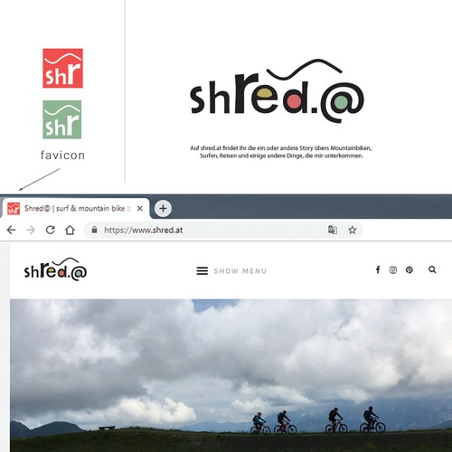 Fun logo for a mountain bike & surf blog