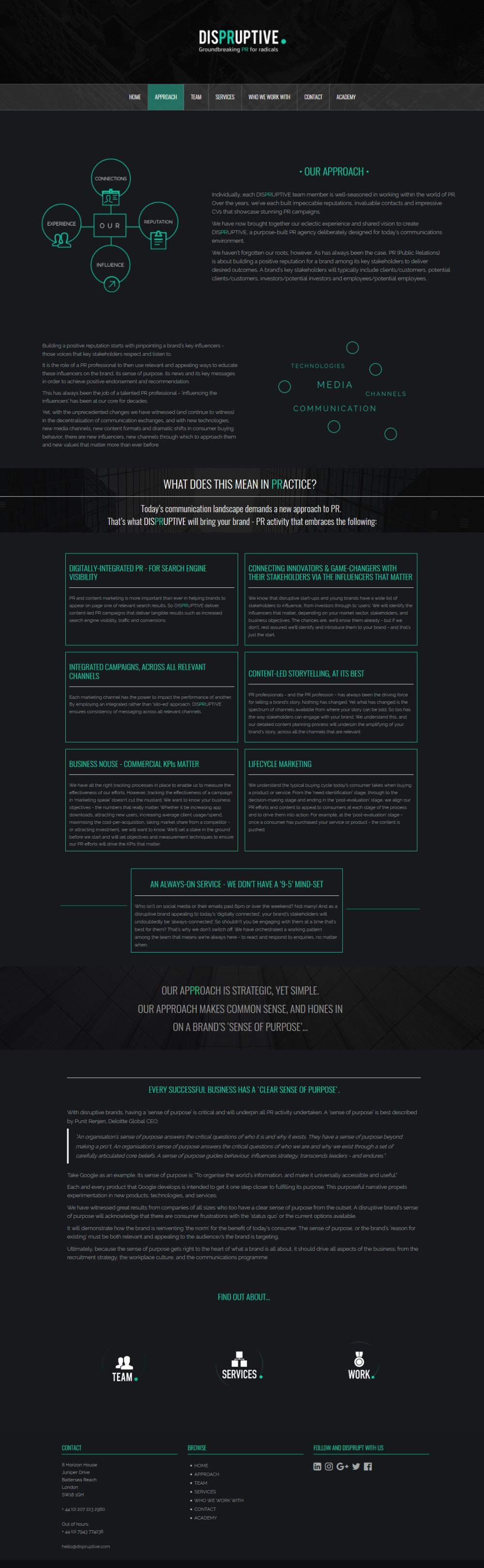 """Web page design for """"Dispruptive"""""""