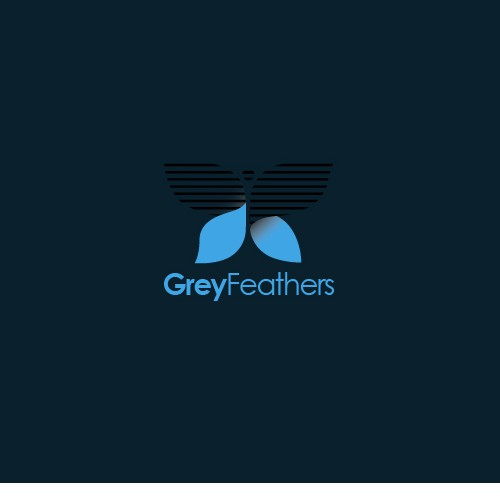 Corporate logo brand identity grey feather.