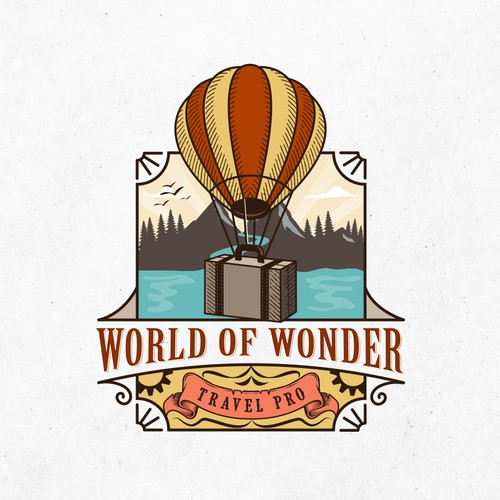 World of Wonder Travel Pro with hotair balloon or antique luggage logo