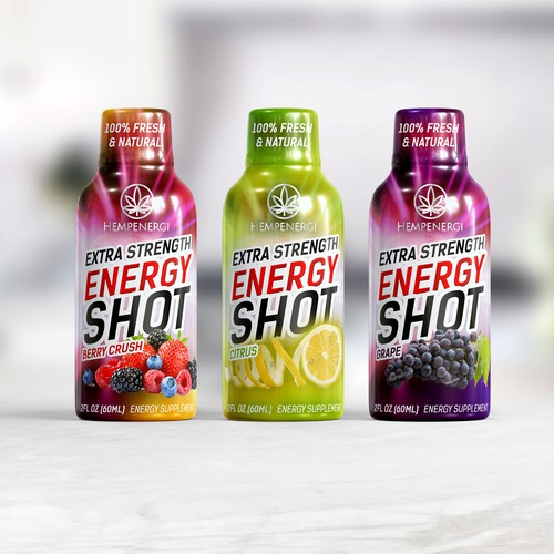 Wrapped label design for energy shot drink
