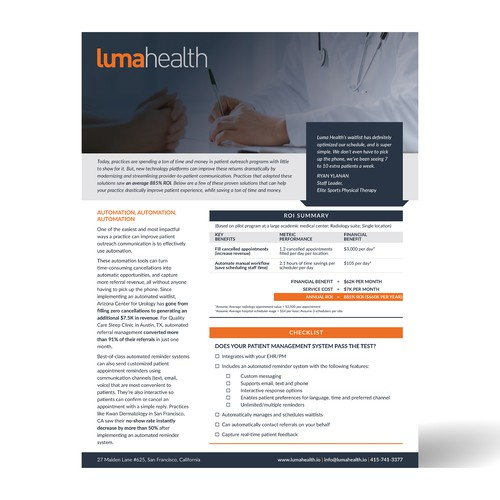 Print layout for Luma Health