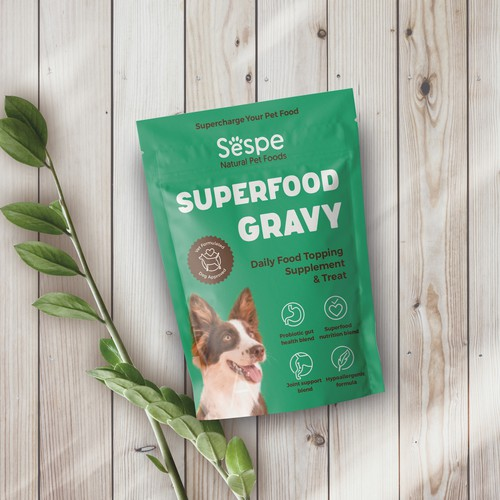 Package design for a dog superfood topping supplement and treat