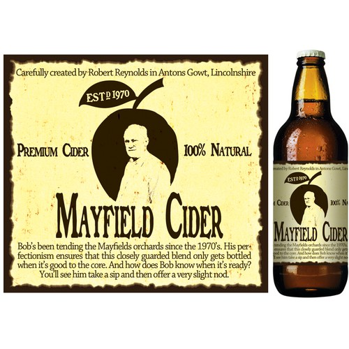 product label for Mayfield Cider