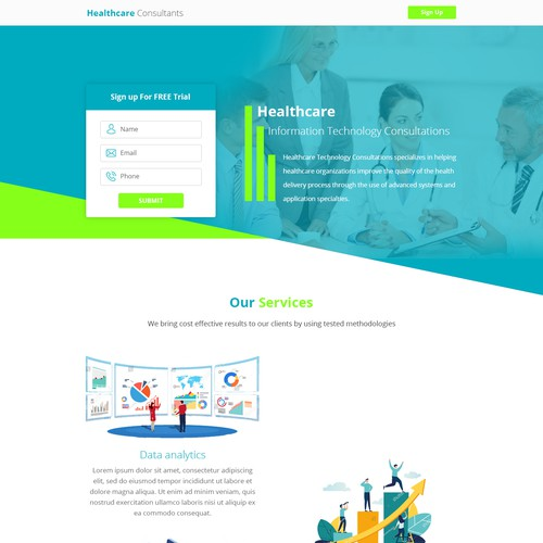 Healthcare consultants landing page