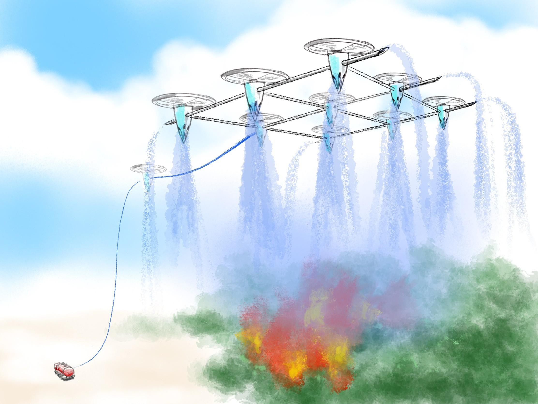 Waldbrandlöschen mit Drohnen - Schaubilder für Anwendungen egal in welchem Style