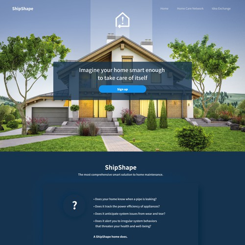 Landing page for a smart home systems technology company
