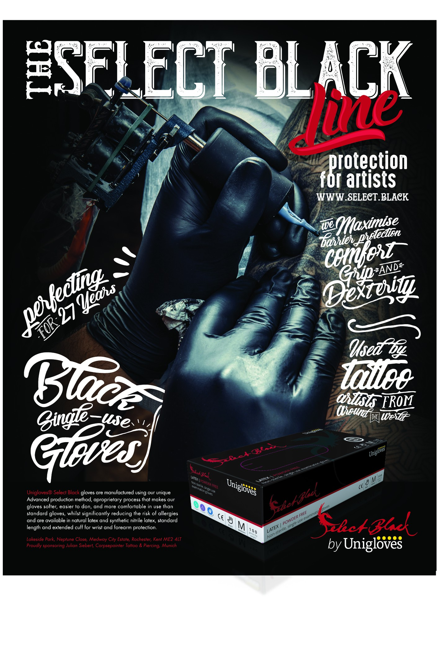To inform end users (tattoo artists) about the Select Black range of tattoo specific products