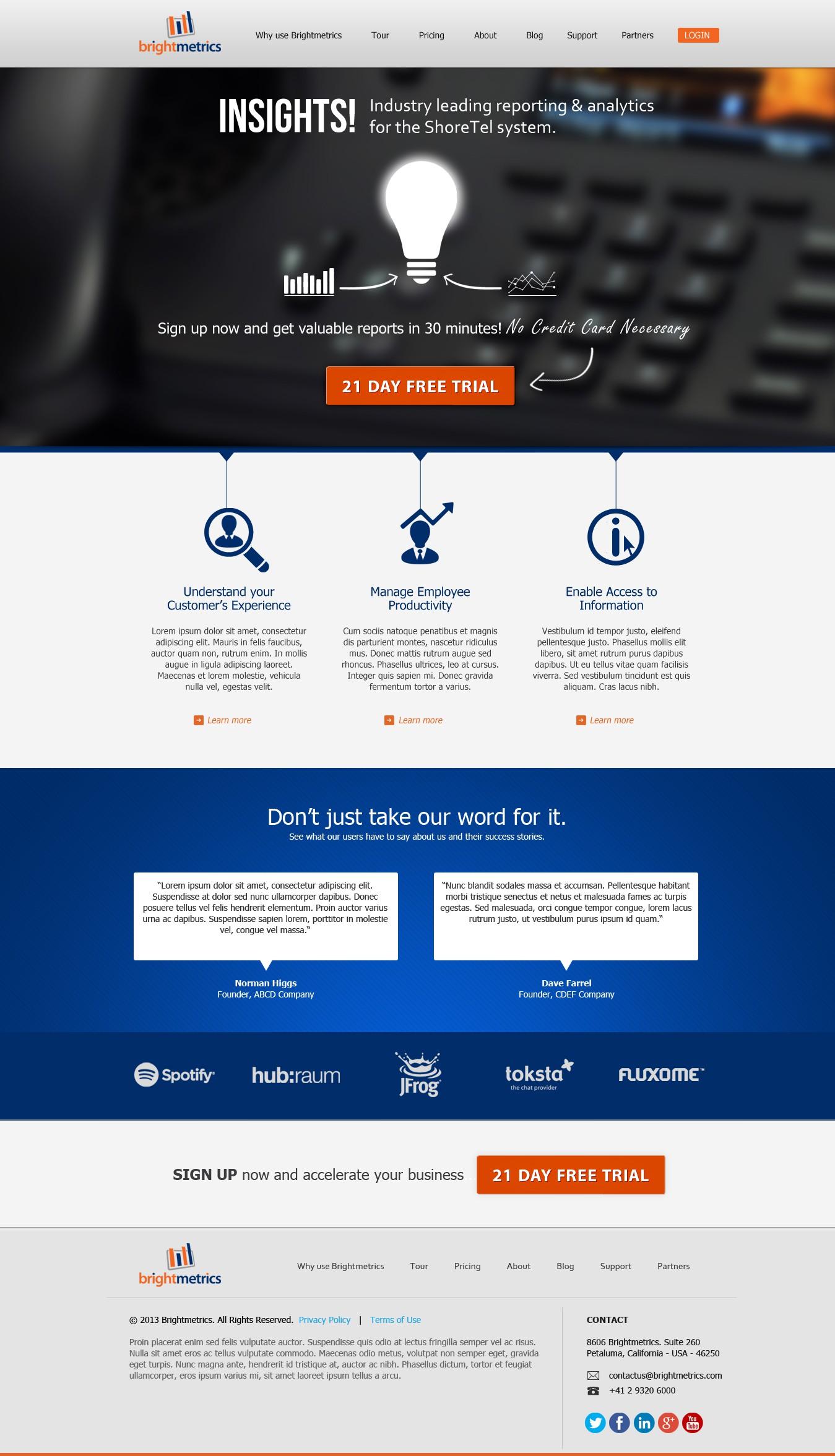 website design for Brightmetrics