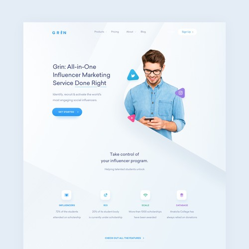 Grin Influencer Platform Web Design