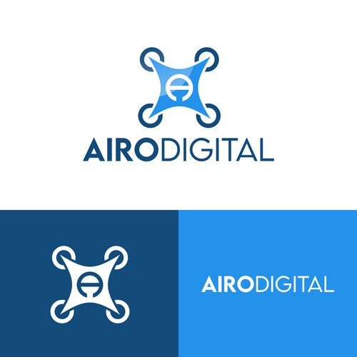 High-tech logo for a drone services company.