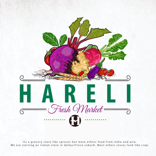 "Bold logo for ""Hareli Fresh Market"""
