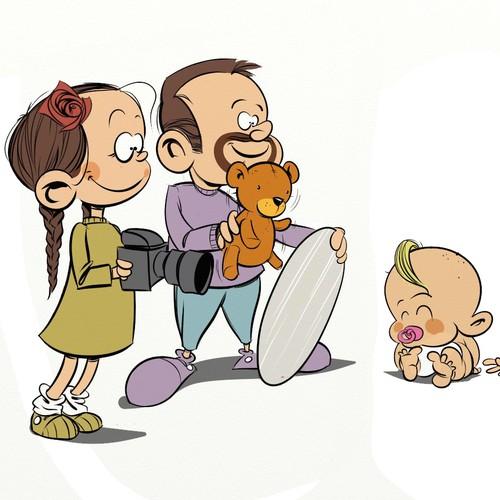 Cartoony version of kids-photographer for website