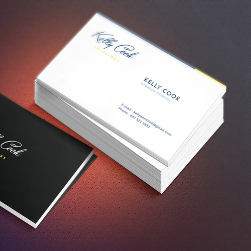 An elegant clean classic business card for a high end decorating firmKelly Cook Interiors