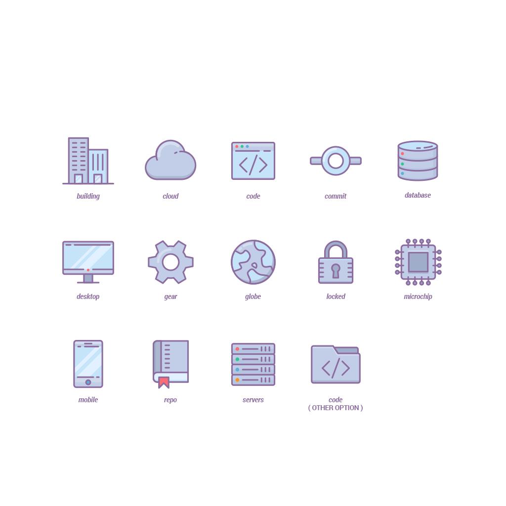 Design a set of 13 flat ui icons for a developer tool