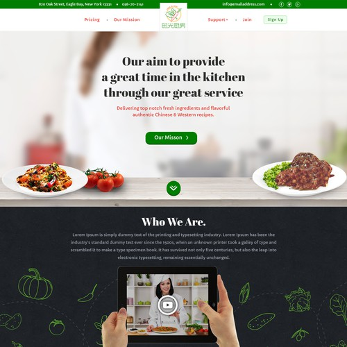Food Service Provider Needs a Homepage