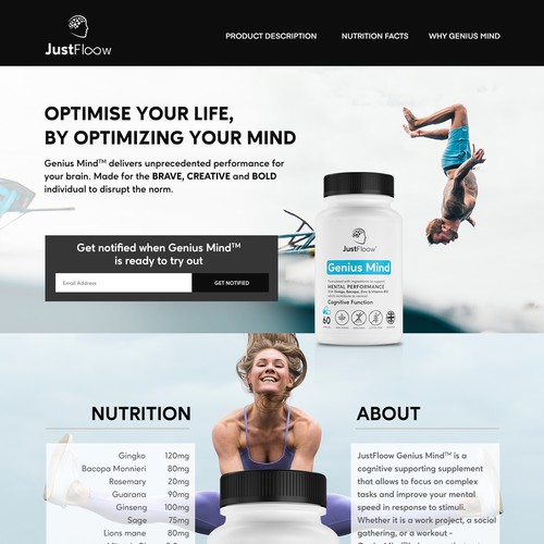 Landing Page Design For Supplements
