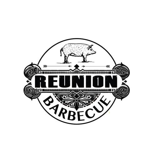 Design a hipster logo for Reunion Barbecue