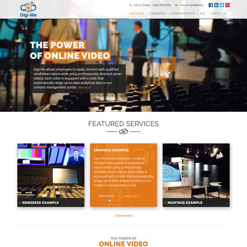 Web design for Video Digital recruitment website