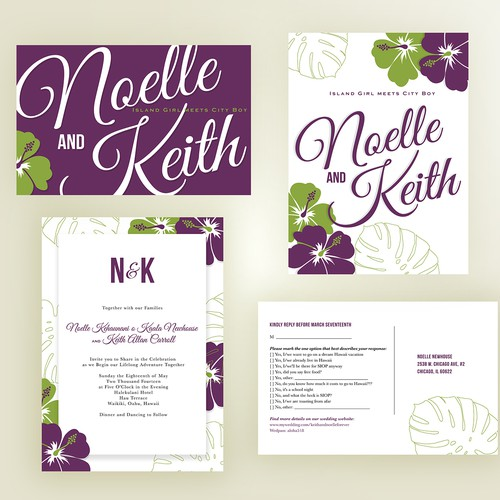 card or invitation for Noelle and Keith's Wedding