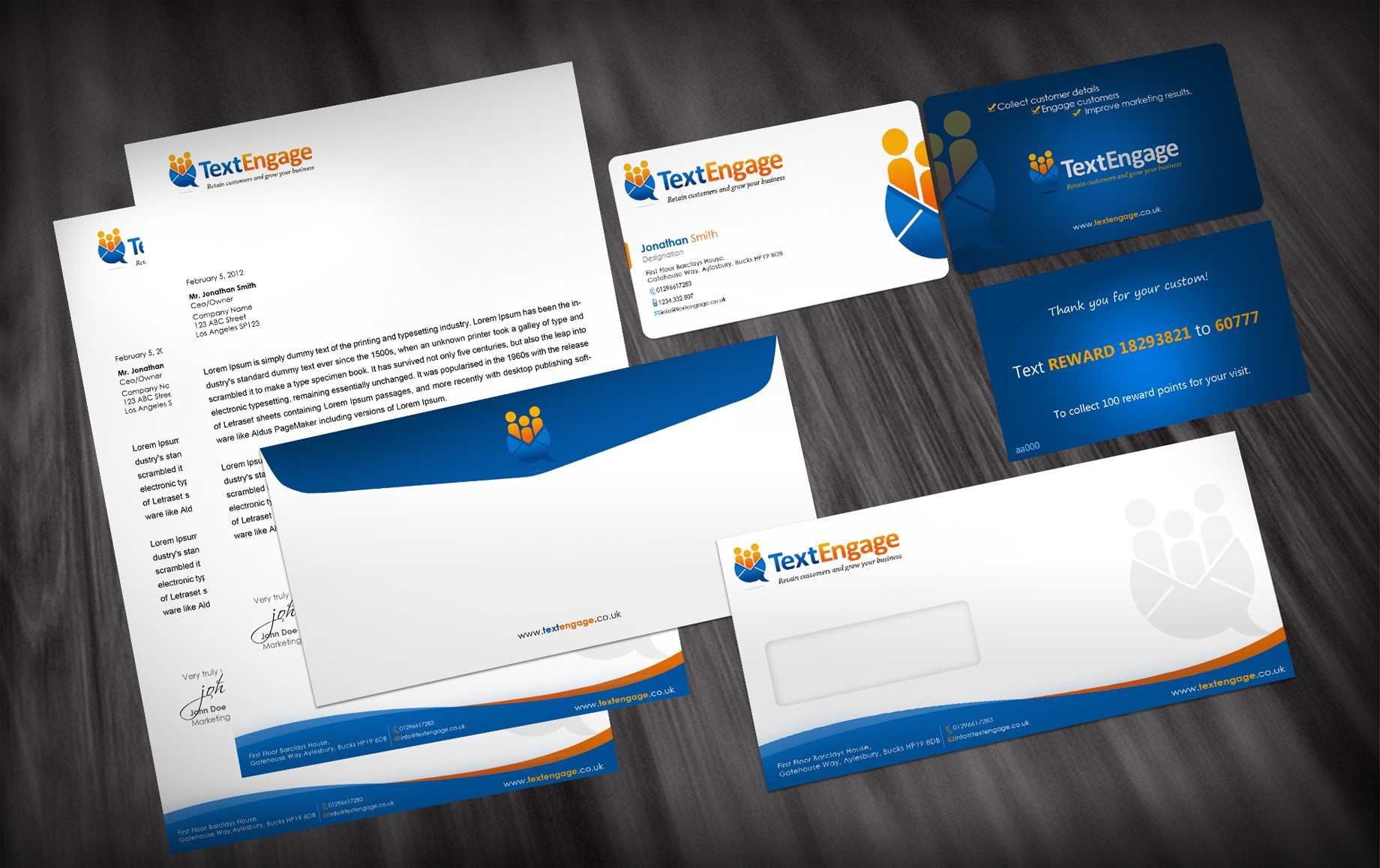 Help Text Engage with new business cards & a letterhead