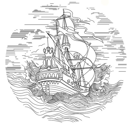 Engraving illustration on the back of a watch.