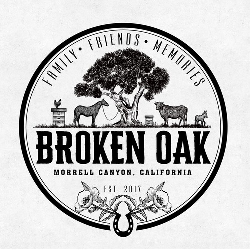 Logo for the Broken Oak family farm