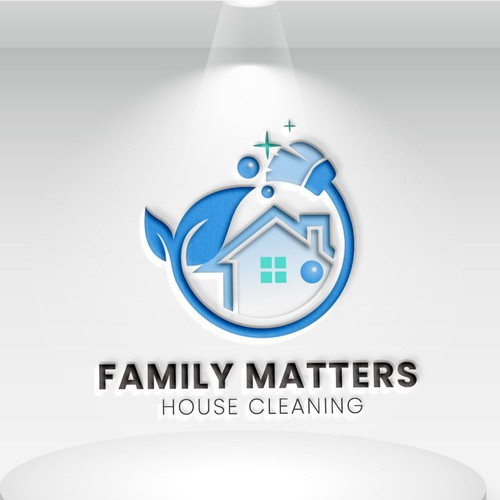 Family house cleaning logo