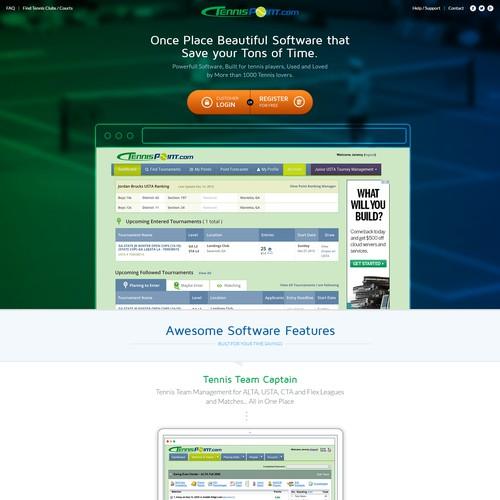Web Page design for a Sport Tennis company