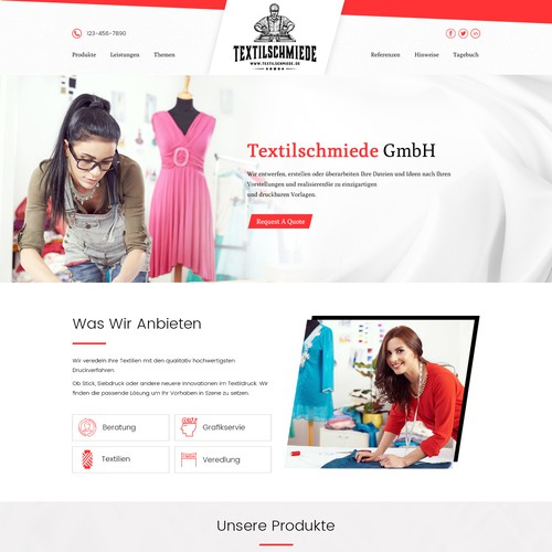 Website for textile printing company
