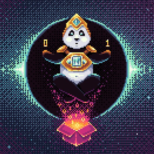 Cosmos Panda Pixel Art Illustration
