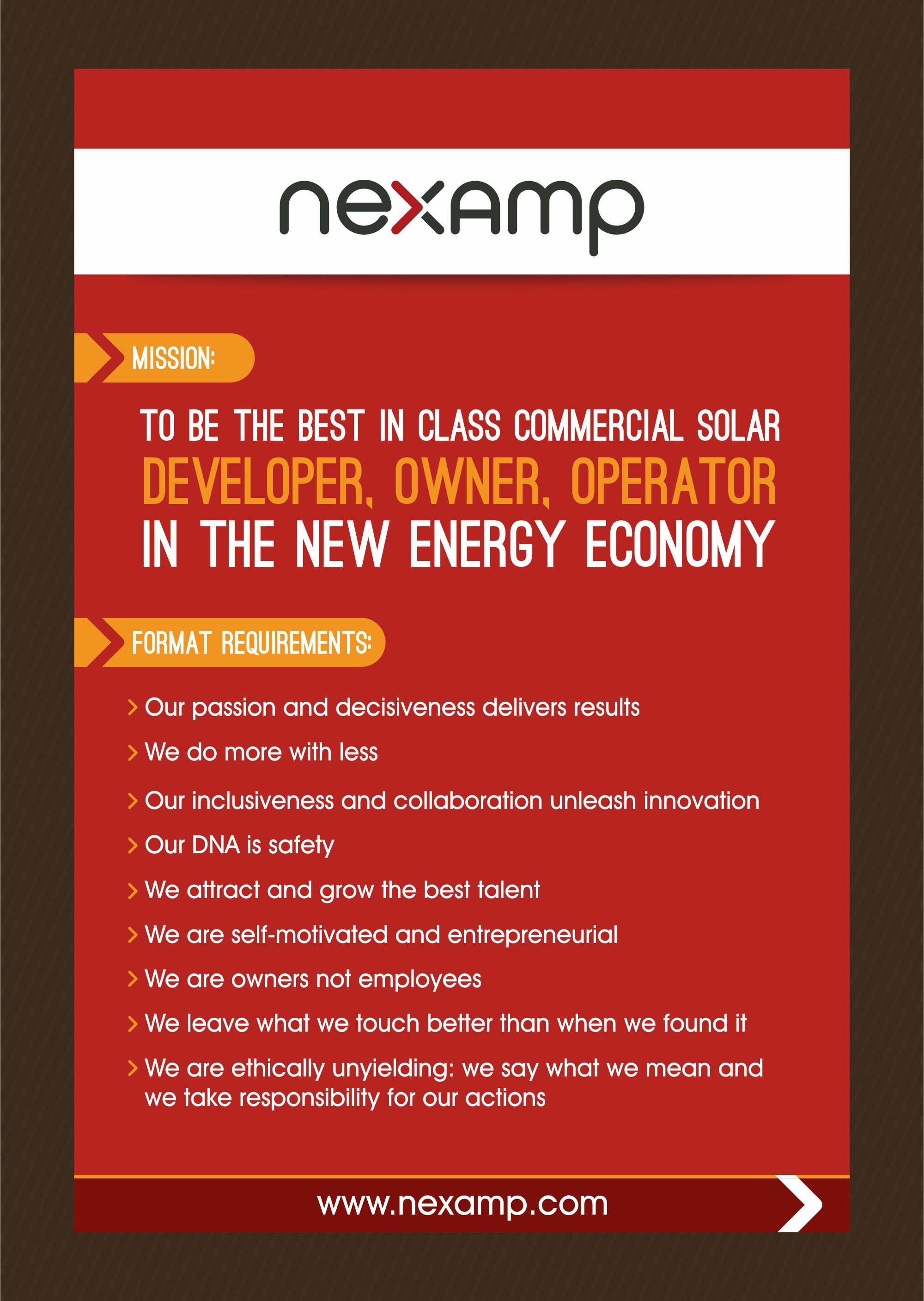 Design a bright new missions and values poster for Nexamp's offices!