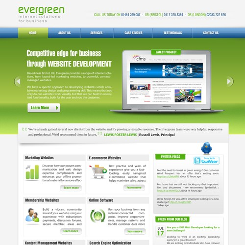 Website design for Evergreen Computing Ltd