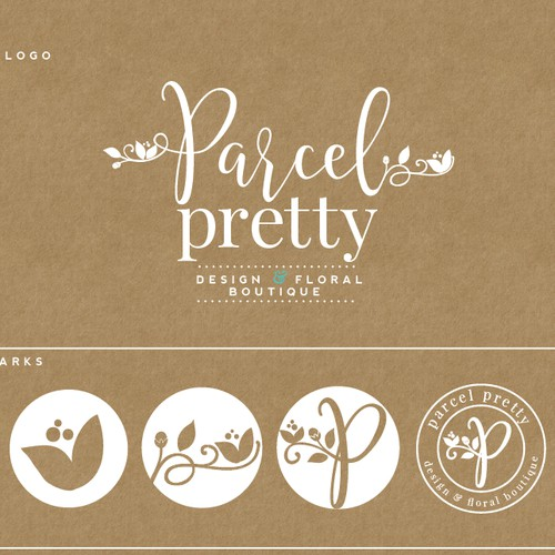 trendy and pretty logo for a floral shipper box