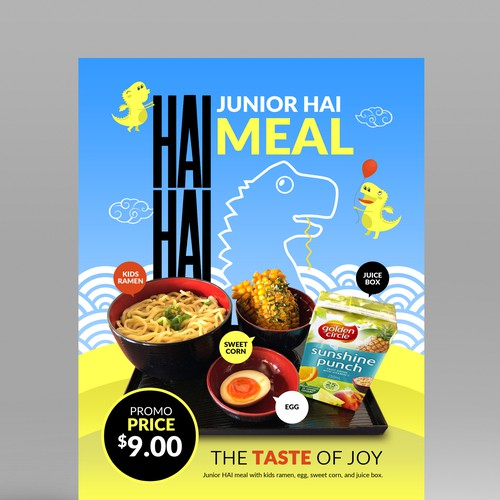 Create a fun attractive kids promo design for Hai Hai Ramen