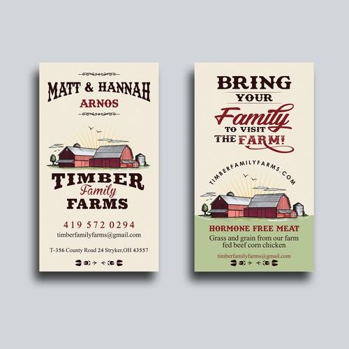 Timber Family Farms Meat Straw business card
