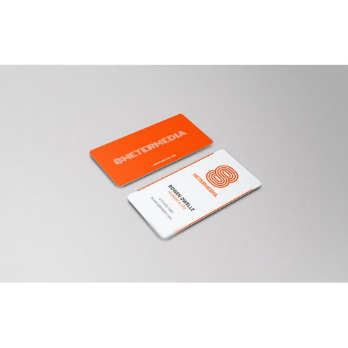 Design a striking business card for 8 Meter Media