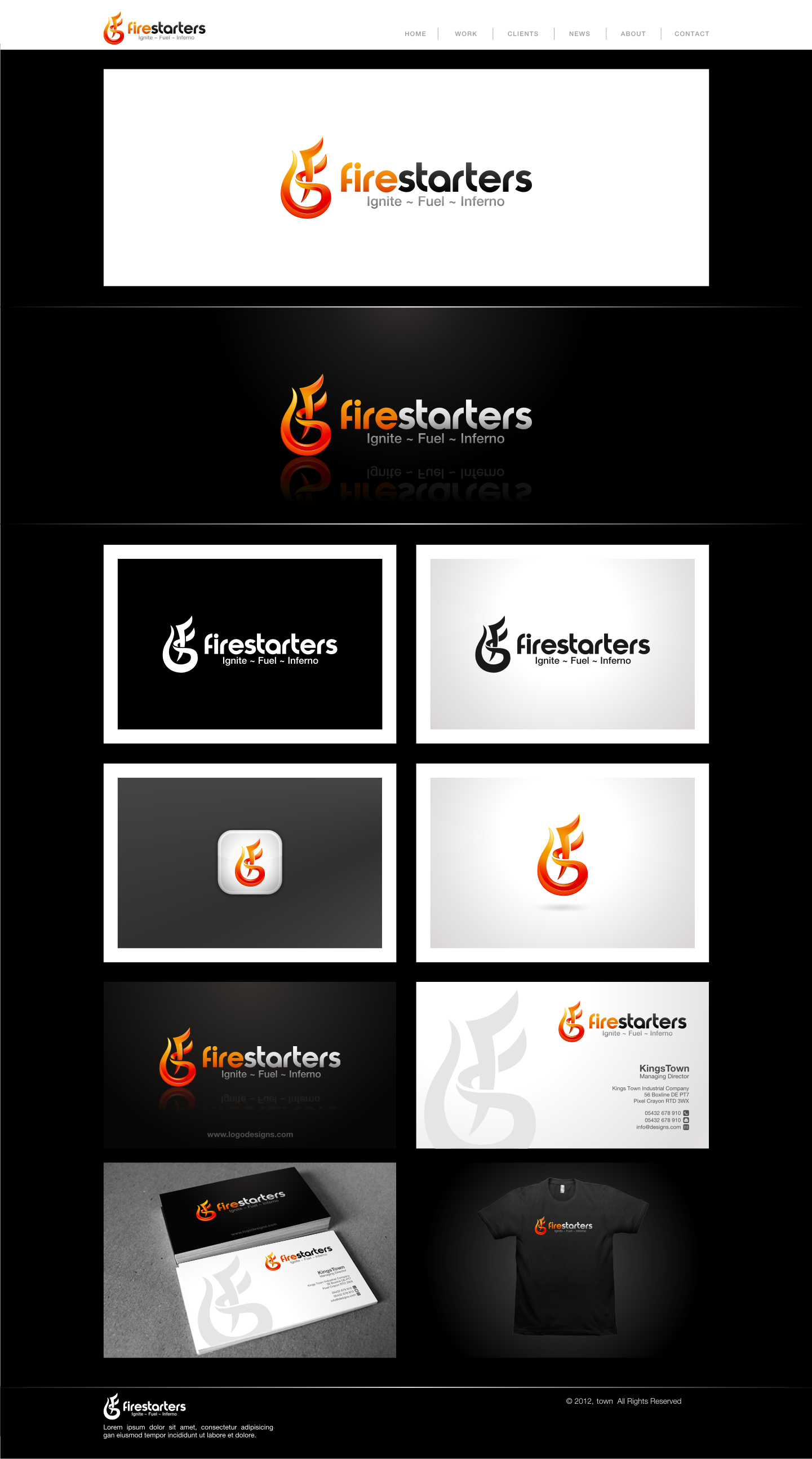 logo and business card for Fire Starters