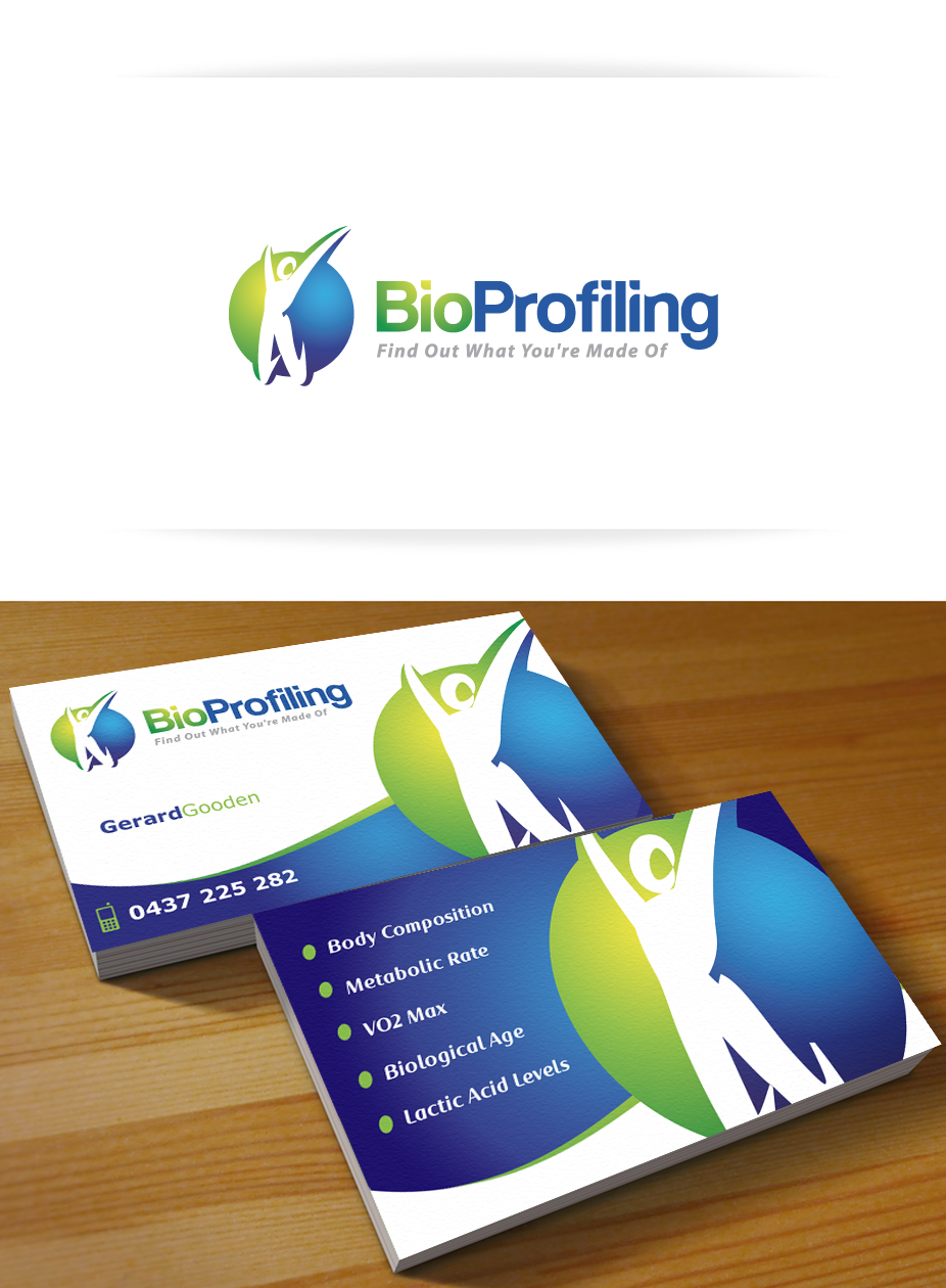 Create the next logo and business card for Bio Profiling