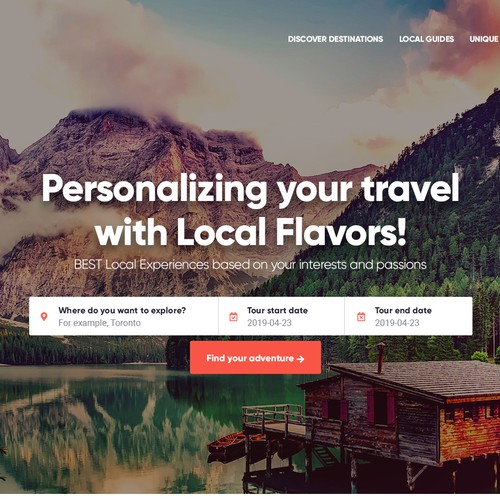 Website for travel service provider