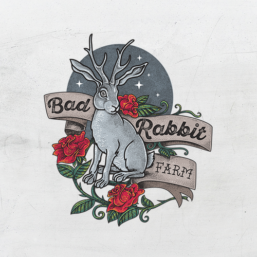 Traditional Tattoo inspired logo for Bad Rabbit Farm