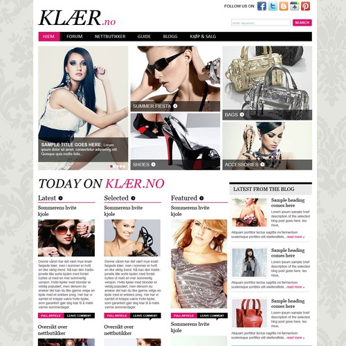 Web Page Design for Fashion Magazine