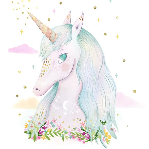Unicorn illustration in watercolour style with gold detail