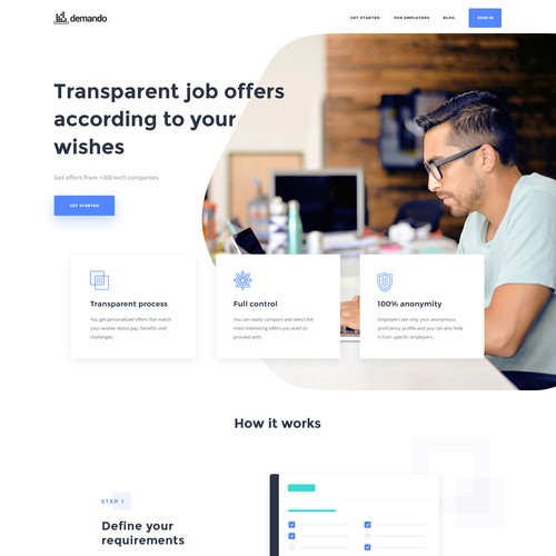 Web design for a recruitment marketplace