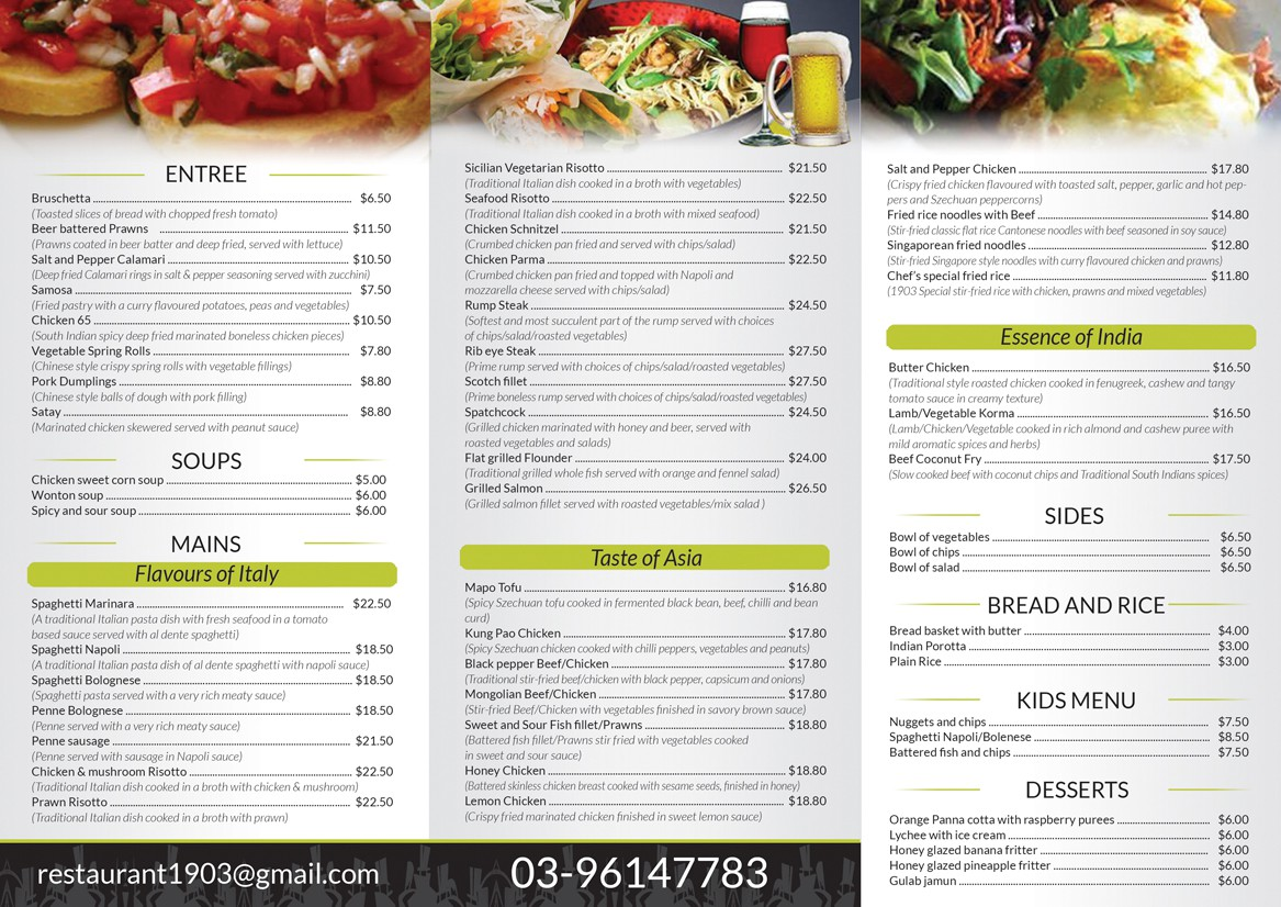 Help Restaurant 1903  with a new brochure design