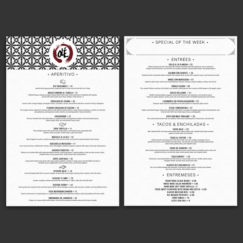 A Large number of dishes menu for Ole